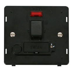 Click Definity SIN252BK Lockable 13A Switched Fused Connection Unit Insert with Flex Outlet and Neon in Black