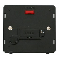 Click Definity SIN253BK Lockable 13A Fused Connection Unit Insert with Flex Outlet and Neon in Black
