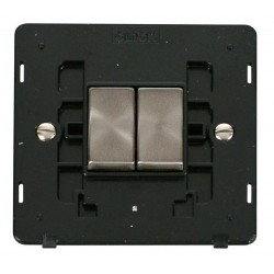 Click Definity SIN412BKBS 10AX 2 Gang 2 Way Switch Insert, Black with Brushed Steel Switch