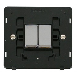 Click Definity SIN412BKCH 10AX 2 Gang 2 Way Switch Insert, Black with Polished Chrome Switch