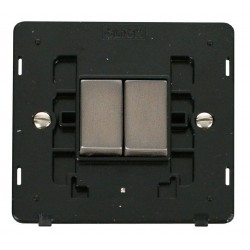 Click Definity SIN412BKSS 10AX 2 Gang 2 Way Switch Insert, Black with Stainless Steel Switch