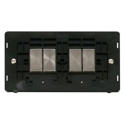 Click Definity SIN414BKBS 10AX 4 Gang 2 Way Switch Insert (2 x 2), Black with Brushed Steel Switch