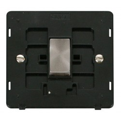Click Definity SIN425BKBS 10AX 1 Gang Intermediate Switch Insert, Black with Brushed Steel Switch