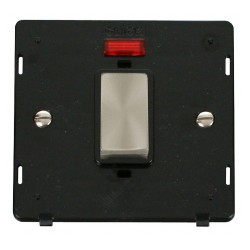Click Definity SIN501BKBS 45A 1 Gang Plate DP Switch With Neon Insert, Black with Brushed Steel Switch
