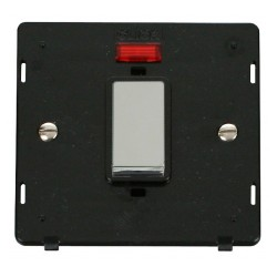 Click Definity SIN501BKCH 45A 1 Gang Plate DP Switch With Neon Insert, Black with Polished Chrome Switch