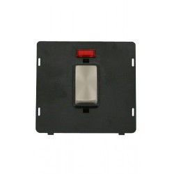 Click Definity SIN503BKBS 45A 2 Gang Plate DP Switch With Neon Insert, Black with Brushed Steel Switch