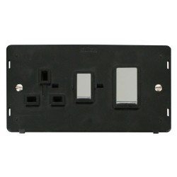 Click Definity SIN504BKCH 45A DP Switch and 13A DP Switched Socket Insert, Black with Polished Chrome Switch