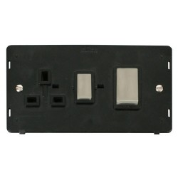 Click Definity SIN504BKSS 45A DP Switch and 13A DP Switched Socket Insert, Black with Stainless Steel Switch