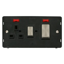 Click Definity SIN505BKBS 45A DP Switch and 13A DP Switched Socket With Neons Insert, Black with Brushed Steel Switch