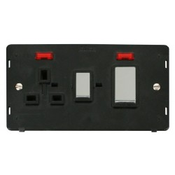Click Definity SIN505BKCH 45A DP Switch and 13A DP Switched Socket With Neons Insert, Black with Polished Chrome Switch