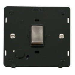 Click Definity SIN522BKBS 20A DP Ingot Switch with Flex Outlet Insert, Black with Brushed Steel Switch