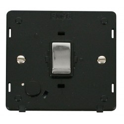 Click Definity SIN522BKCH 20A DP Ingot Switch with Flex Outlet Insert, Black with Polished Chrome Switch