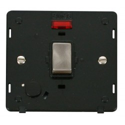 Click Definity SIN523BKBS 20A DP Ingot Switch with Flex Outlet and Neon Insert, Black with Brushed Steel Switch