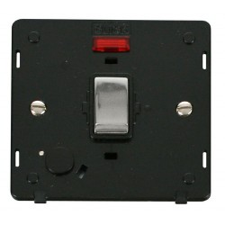 Click Definity SIN523BKCH 20A DP Ingot Switch with Flex Outlet and Neon Insert, Black with Polished Chrome Switch
