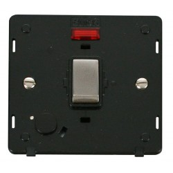 Click Definity SIN523BKSS 20A DP Ingot Switch with Flex Outlet and Neon Insert, Black with Stainless Steel Switch