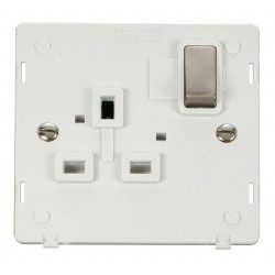 Click Definity SIN535PWBS UK 1 Gang 13A Ingot Switched Socket Outlet Insert, Polar White with Brushed Steel Switch
