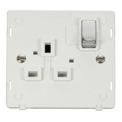 Click Definity SIN535PWCH UK 1 Gang 13A Ingot Switched Socket Outlet Insert, Polar White with Polished Chrome Switch
