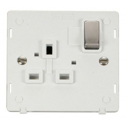 Click Definity SIN535PWSS UK 1 Gang 13A Ingot Switched Socket Outlet Insert, Polar White with Stainless Steel Switch