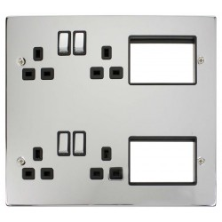 Click New Media MP606CHBK Semi-Modular Plate with 4 x 13A DP Switched Sockets and 2x3 New Media Module Apertures, Polished Chrome with Black Inserts