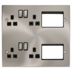 Click New Media MP606SCBK Semi-Modular Plate with 4 x 13A DP Switched Sockets and 2x3 New Media Module Apertures, Satin Chrome with Black Inserts