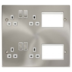 Click New Media MP606SCWH Semi-Modular Plate with 4 x 13A DP Switched Sockets and 2x3 New Media Module Apertures, Satin Chrome with White Inserts