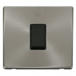 Click Definity Flat Plate Screwless 10AX 1 Gang 2 Way Black Switch with Brushed Steel Cover Plate