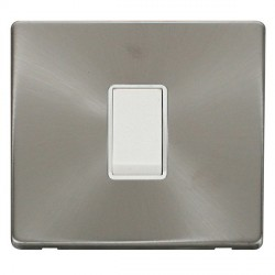 Click Definity Flat Plate Screwless 10AX 1 Gang 2 Way Polar White Switch with Brushed Steel Cover Plate