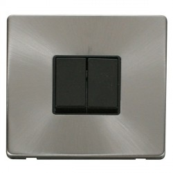 Click Definity Flat Plate Screwless 10AX 2 Gang 2 Way Black Switch with Brushed Steel Cover Plate