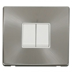 Click Definity Flat Plate Screwless 10AX 2 Gang 2 Way Polar White Switch with Brushed Steel Cover Plate