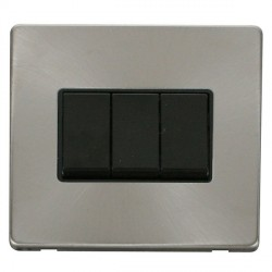 Click Definity Flat Plate Screwless 10AX 3 Gang 2 Way Black Switch with Brushed Steel Cover Plate