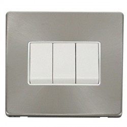 Click Definity Flat Plate Screwless 10AX 3 Gang 2 Way Polar White Switch with Brushed Steel Cover Plate