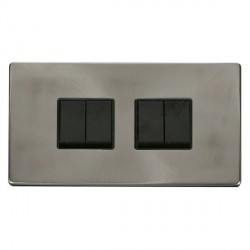 Click Definity Flat Plate Screwless 10AX 4 Gang 2 Way (2 x 2) Black Switch with Brushed Steel Cover Plate
