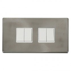 Click Definity Flat Plate Screwless 10AX 4 Gang 2 Way (2 x 2) Polar White Switch with Brushed Steel Cover Plate