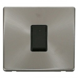 Click Definity Flat Plate Screwless 10AX 1 Gang Intermediate Black Switch with Brushed Steel Cover Plate