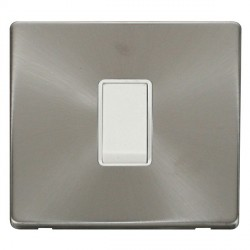 Click Definity Flat Plate Screwless 10AX 1 Gang Intermediate Polar White Switch with Brushed Steel Cover Plate