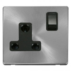 Click Definity Flat Plate Screwless 1 Gang 15A Round Pin Black Switched Socket with Brushed Steel Cover Plate