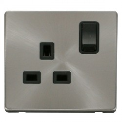 Click Definity Flat Plate Screwless 1 Gang UK 13A Black Switched Socket with Brushed Steel Cover Plate