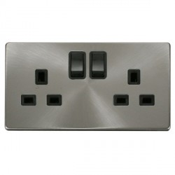 Click Definity Flat Plate Screwless 2 Gang UK 13A Black Switched Socket with Brushed Steel Cover Plate
