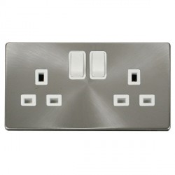 Click Definity Flat Plate Screwless 2 Gang UK 13A Polar White Switched Socket with Brushed Steel Cover Plate