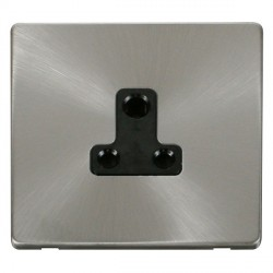 Click Definity Flat Plate Screwless 1 Gang 5A Round Pin Black Socket with Brushed Steel Cover Plate