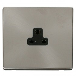 Click Definity Flat Plate Screwless 1 Gang 2A Round Pin Black Socket with Brushed Steel Cover Plate