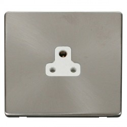 Click Definity Flat Plate Screwless 1 Gang 2A Round Pin Polar White Socket with Brushed Steel Cover Plate