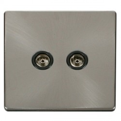 Click Definity Flat Plate Screwless Twin Standard Black Coaxial Socket with Brushed Steel Cover Plate