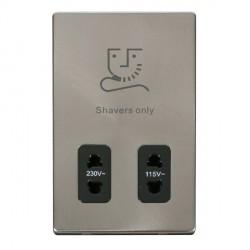 Click Definity Flat Plate Screwless 115V/230V Dual Voltage Black Shaver Socket with Brushed Steel Cover Plate