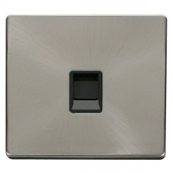 Click Definity Flat Plate Screwless Single Black RJ11 Socket with Brushed Steel Cover Plate