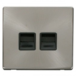 Click Definity Flat Plate Screwless Twin Black Telephone Master Outlet with Brushed Steel Cover Plate
