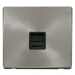 Click Definity Flat Plate Screwless Single Black Telephone Secondary Outlet with Brushed Steel Cover Plate