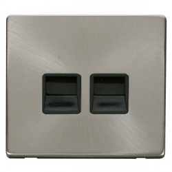 Click Definity Flat Plate Screwless Twin Black Telephone Secondary Outlet with Brushed Steel Cover Plate