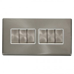 Click Definity Flat Plate Screwless 10AX 6 Gang 2 Way (2 x 3) Polar White Insert with Brushed Steel Switch with Brushed Steel Cover Plate