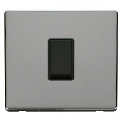 Click Definity Flat Plate Screwless 10AX 1 Gang 2 Way Black Switch with Polished Chrome Cover Plate